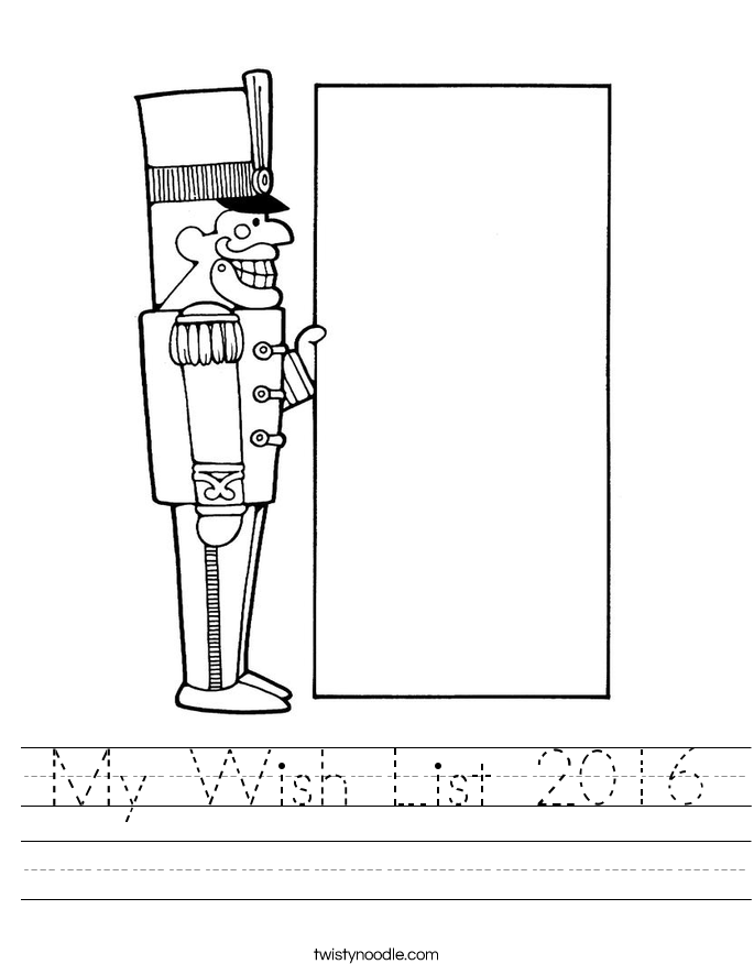My Wish List 2016 Worksheet