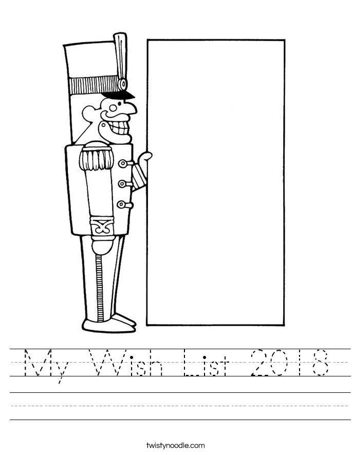 My Wish List 2018 Worksheet