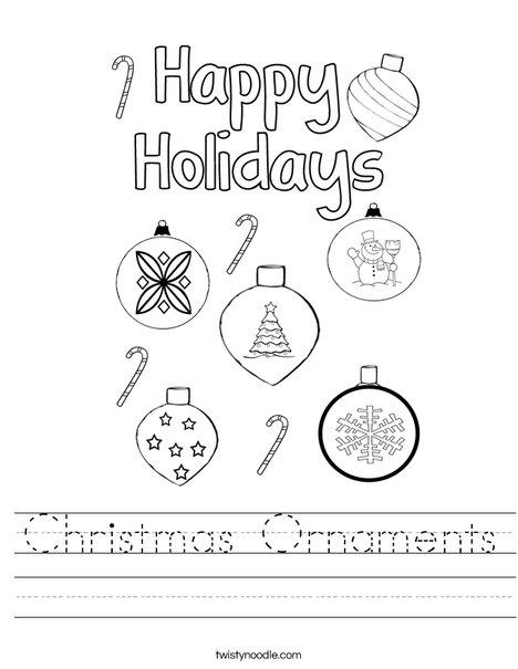 Christmas Ornaments Worksheet
