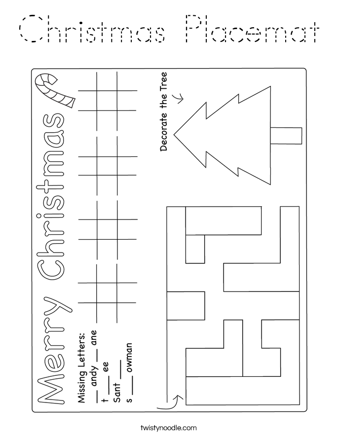 Christmas Placemat Coloring Page - Tracing - Twisty Noodle