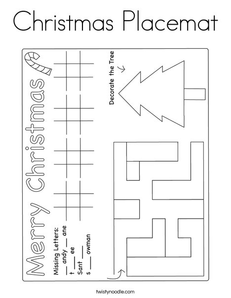 Christmas Placemat Coloring Page
