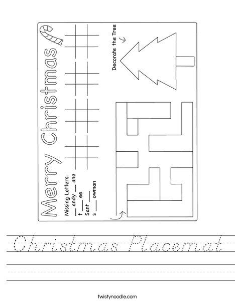 Christmas Placemat Worksheet