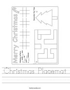 Christmas Placemat Handwriting Sheet
