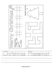 Christmas Placemat Handwriting Sheet