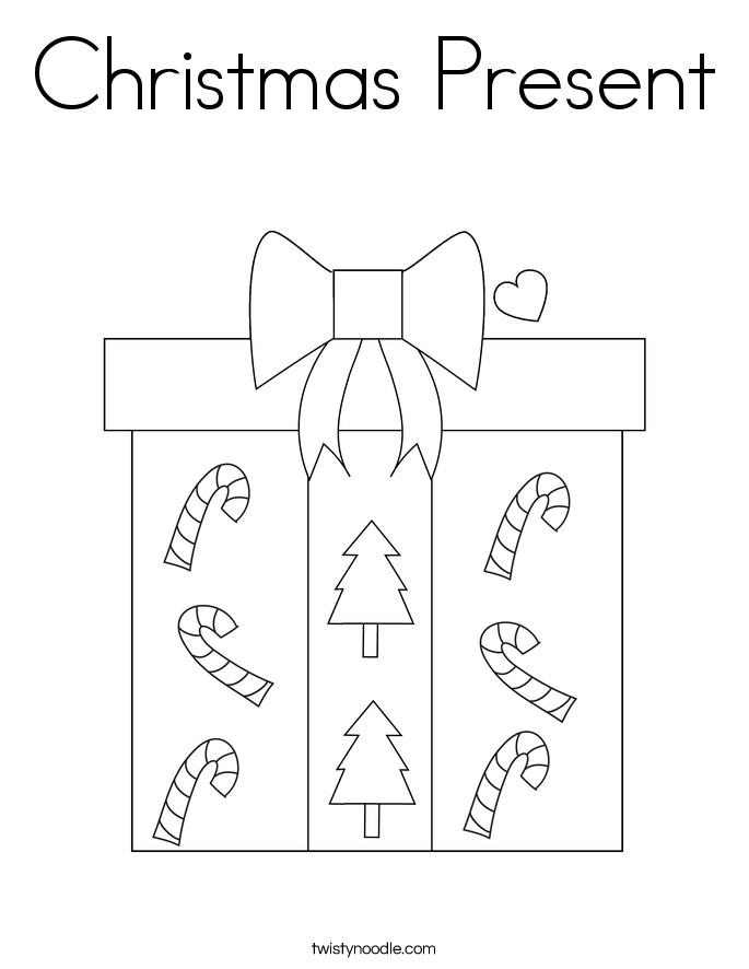 Christmas present outline new calendar template site for Coloring pages of christmas presents