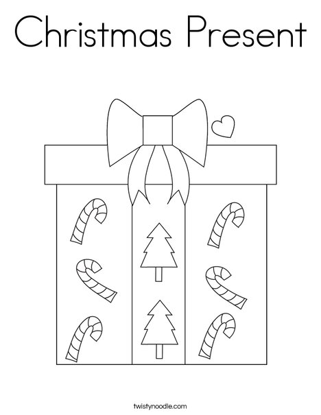 Christmas Present Coloring Page - Twisty Noodle