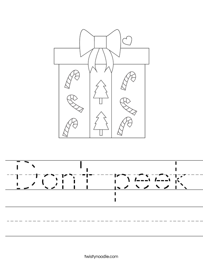 Don't peek Worksheet