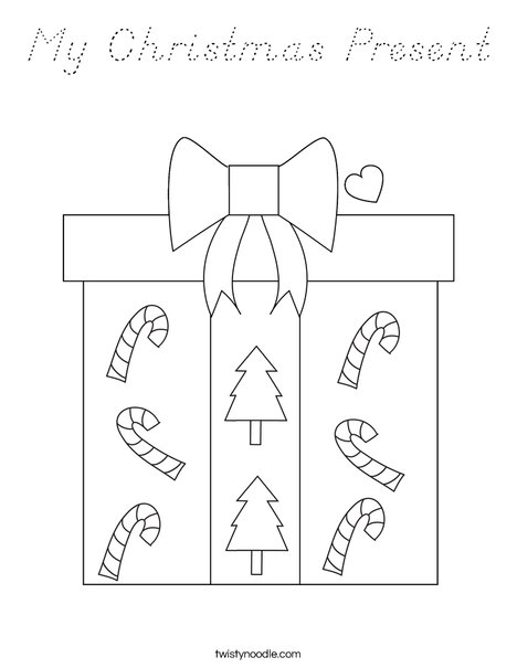 My Christmas Present Coloring Page - D'Nealian - Twisty Noodle