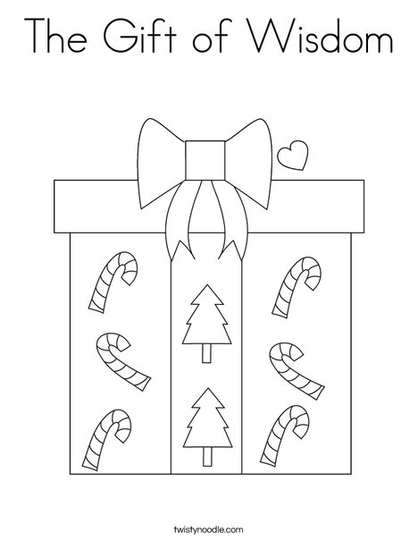 Gift Coloring Page - Coloring Home | 605x468