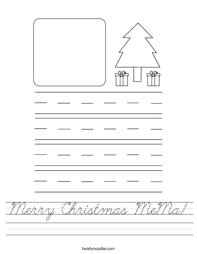 Merry Christmas MeMa! Worksheet