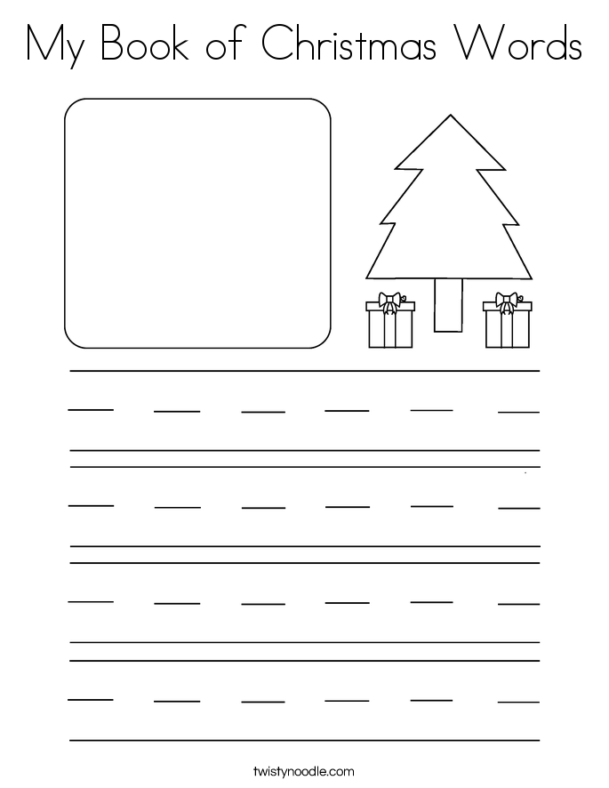 My Book of Christmas Words Coloring Page - Twisty Noodle