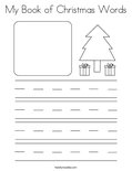 My Book of Christmas Words Coloring Page