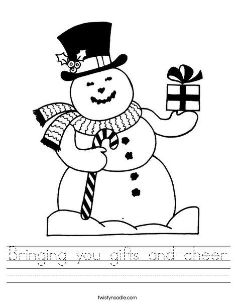 Christmas Snowman Worksheet