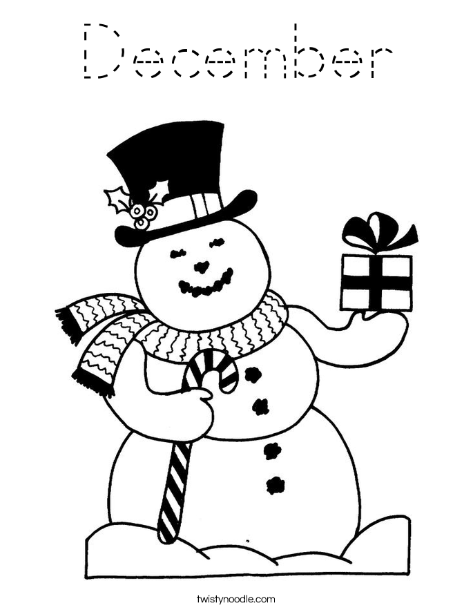 December Coloring Page Tracing