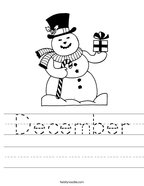 December Handwriting Sheet