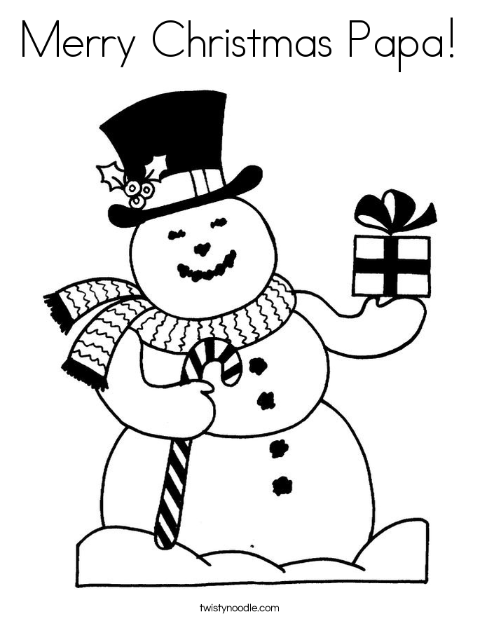Merry Christmas Papa Coloring Page Twisty Noodle