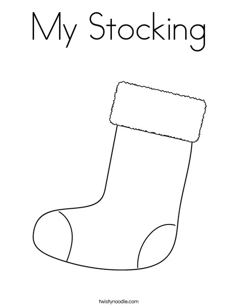 My stocking coloring page twisty noodle for Christmas stocking color page