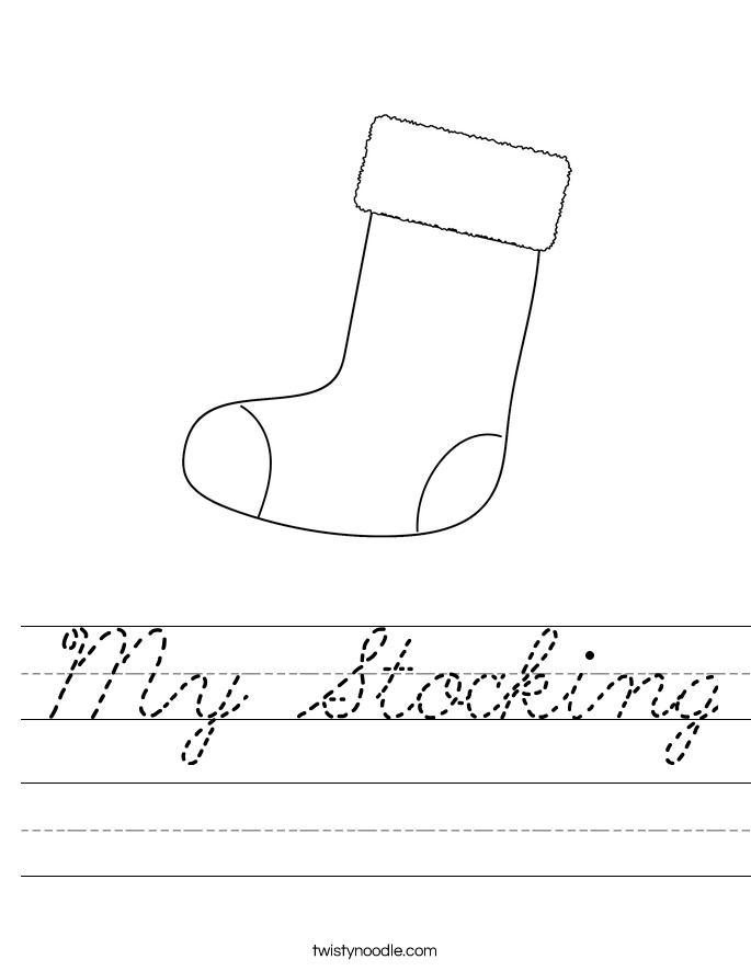 My Stocking Worksheet - Cursive - Twisty Noodle