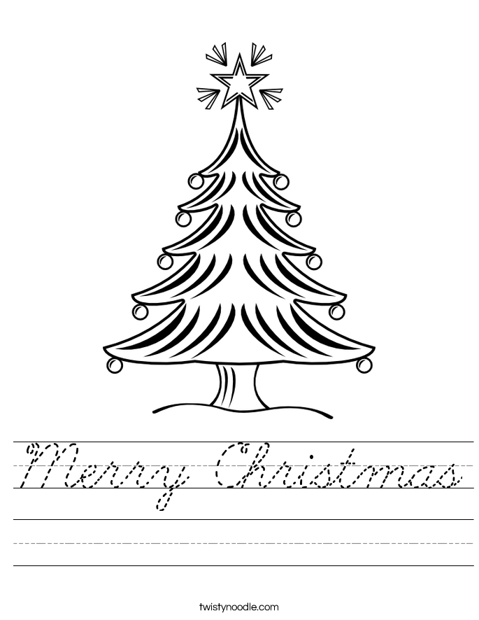 Merry Christmas Worksheet Cursive Twisty Noodle