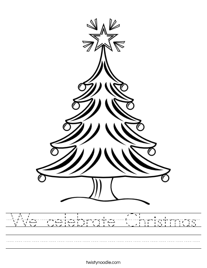 We celebrate Christmas Worksheet Twisty Noodle – Printable Christmas Worksheets