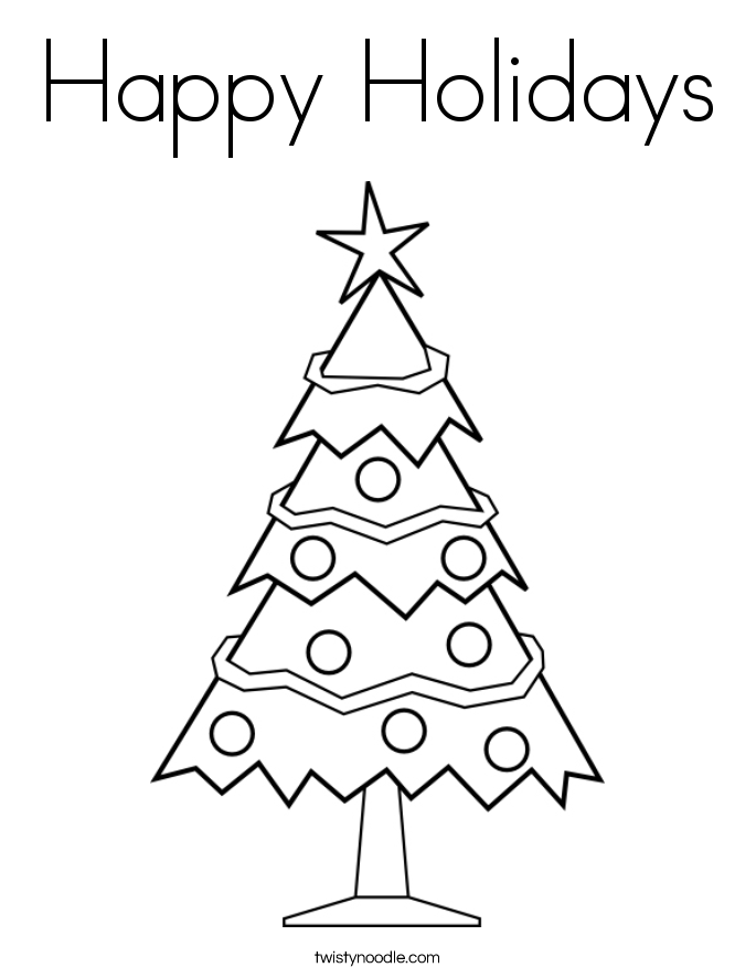happy holidays coloring page twisty noodle - Free Holiday Coloring Printables