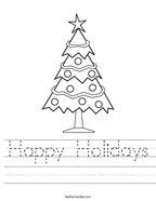 Happy Holidays Handwriting Sheet