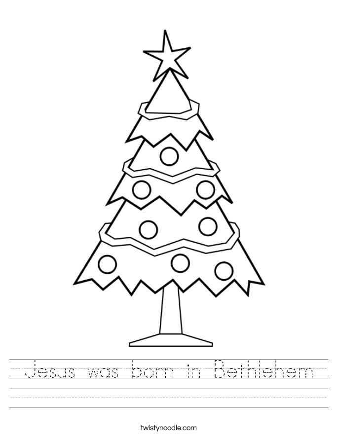 Jesus was born in Bethlehem Worksheet