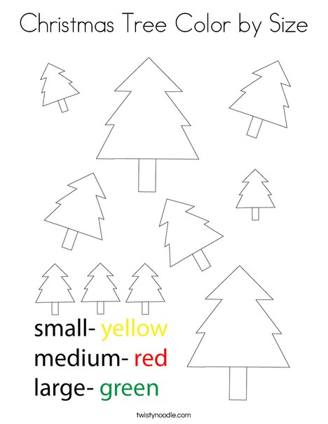 Christmas Tree Color By Size Coloring Page - Twisty Noodle