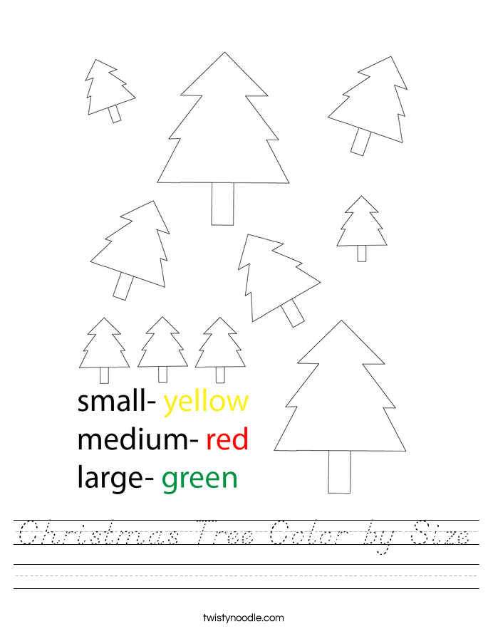 Christmas Tree Color by Size Worksheet