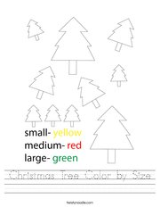 Christmas Tree Color by Size Handwriting Sheet