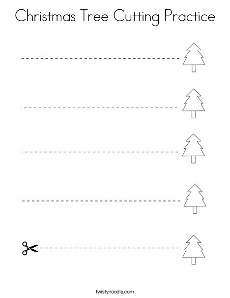 Christmas Tree Cutting Practice Coloring Page