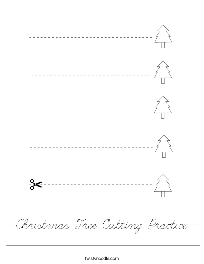Christmas Tree Cutting Practice Worksheet