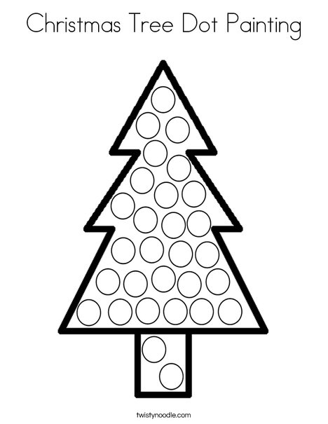 Christmas Tree Dot Painting Coloring Page Twisty Noodle