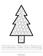 Christmas Tree Dot Painting Handwriting Sheet