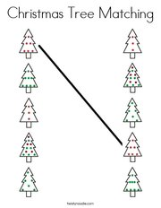 Christmas Tree Matching Coloring Page