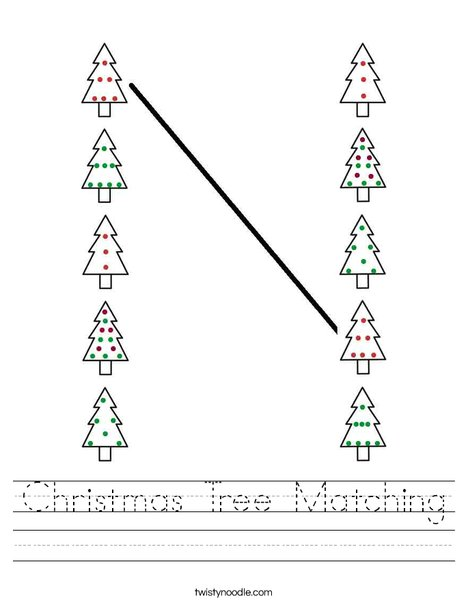 Christmas Tree Matching Worksheet