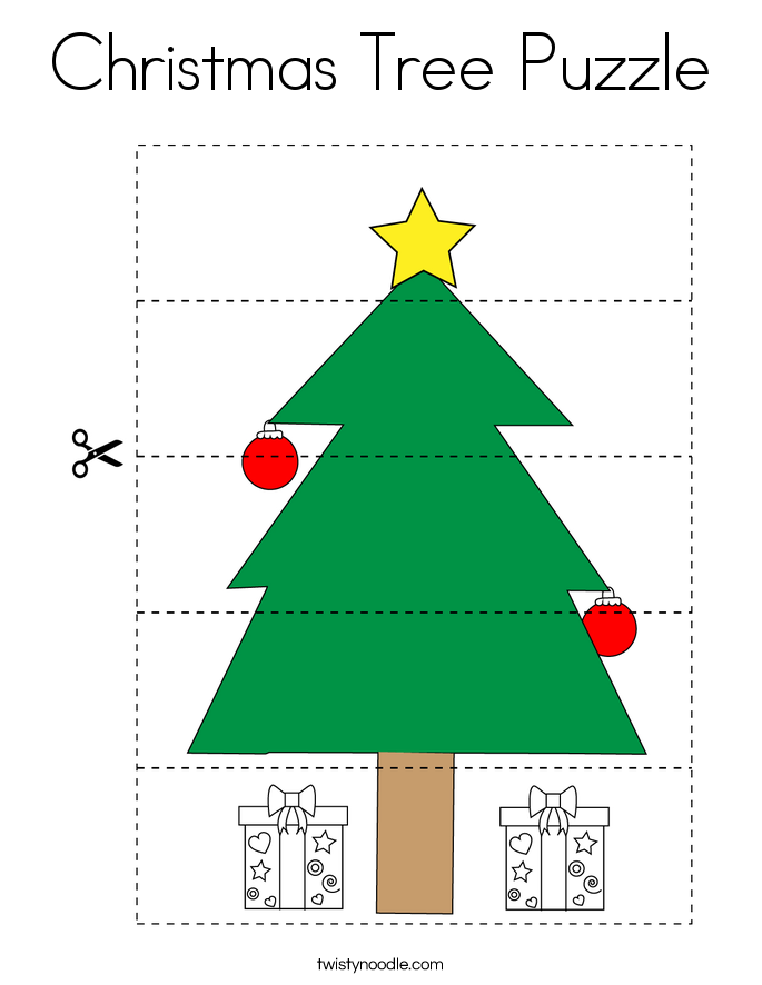 Christmas Tree Puzzle Coloring Page