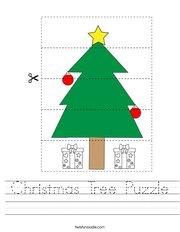 Christmas Tree Puzzle Handwriting Sheet