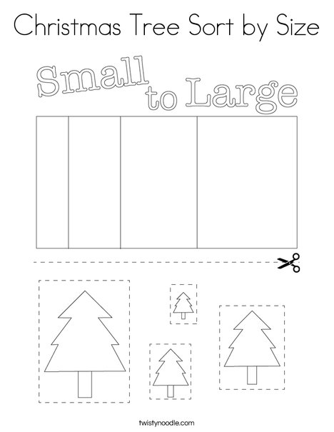 Christmas Tree Sort by Size Coloring Page