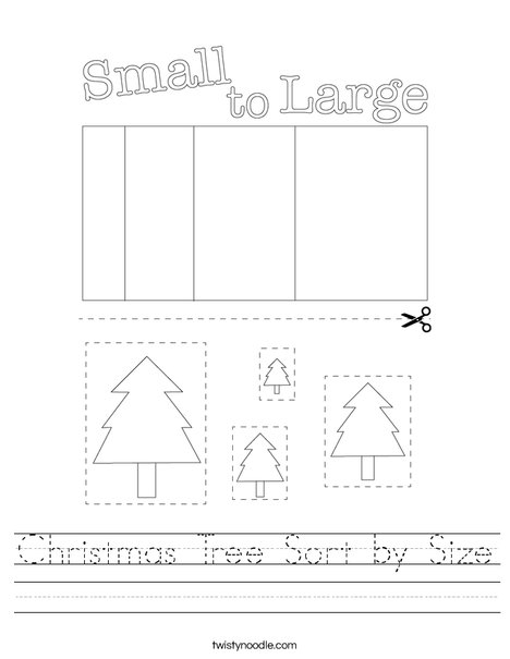 Christmas Tree Sort by Size Worksheet