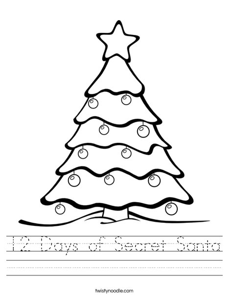 12 Days of Secret Santa Worksheet - Twisty Noodle