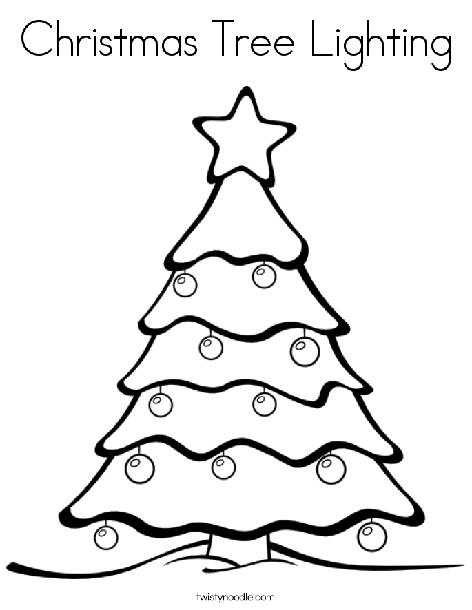 Christmas Tree Lighting Coloring Page