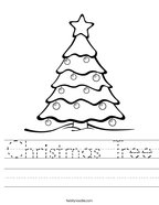 Christmas Tree Handwriting Sheet