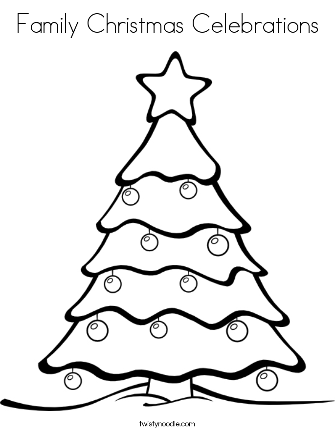 Family Christmas Celebrations Coloring Page
