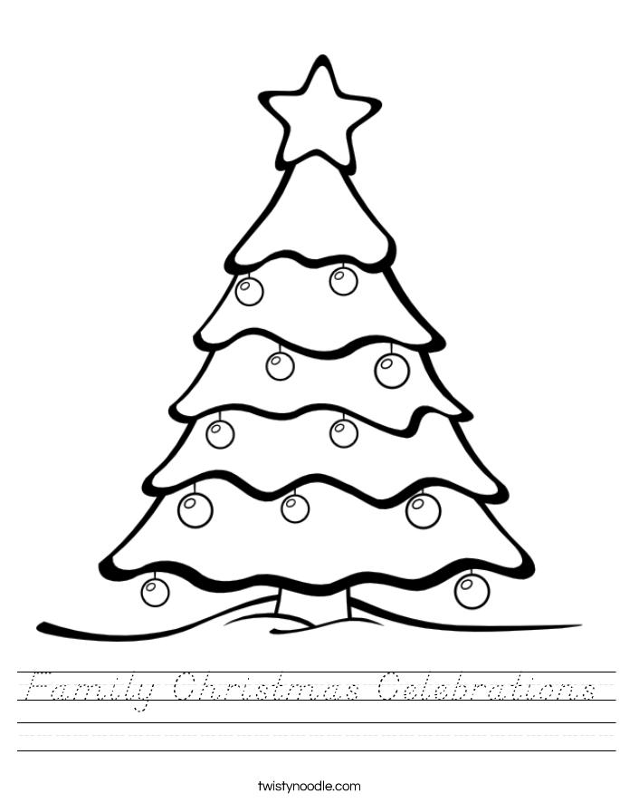 Family Christmas Celebrations Worksheet