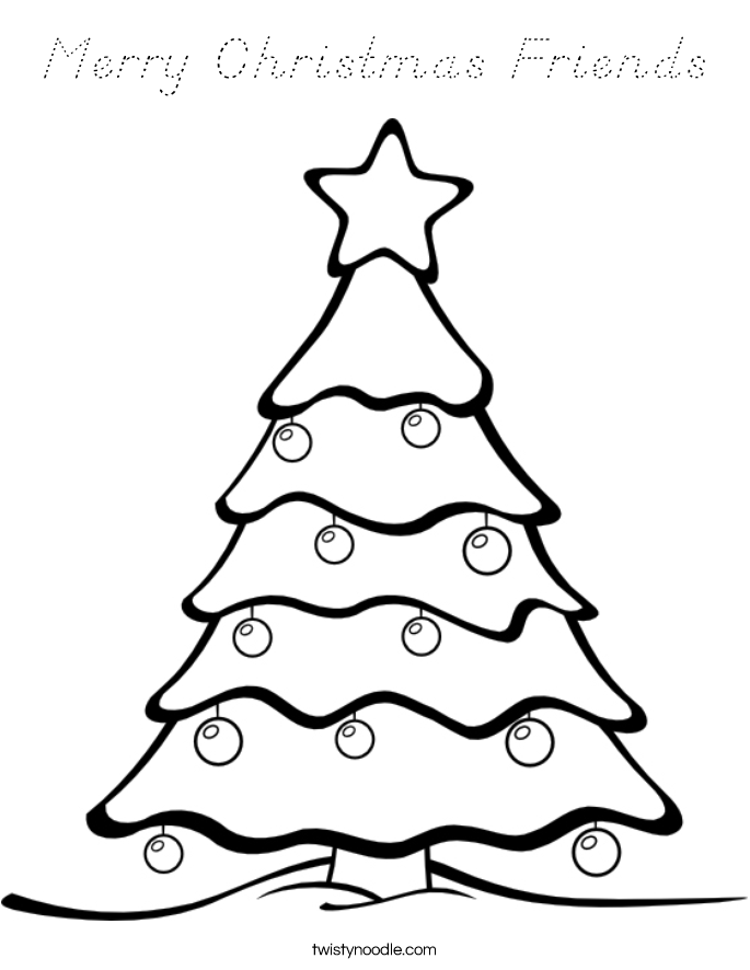 Merry Christmas Friends Coloring Page
