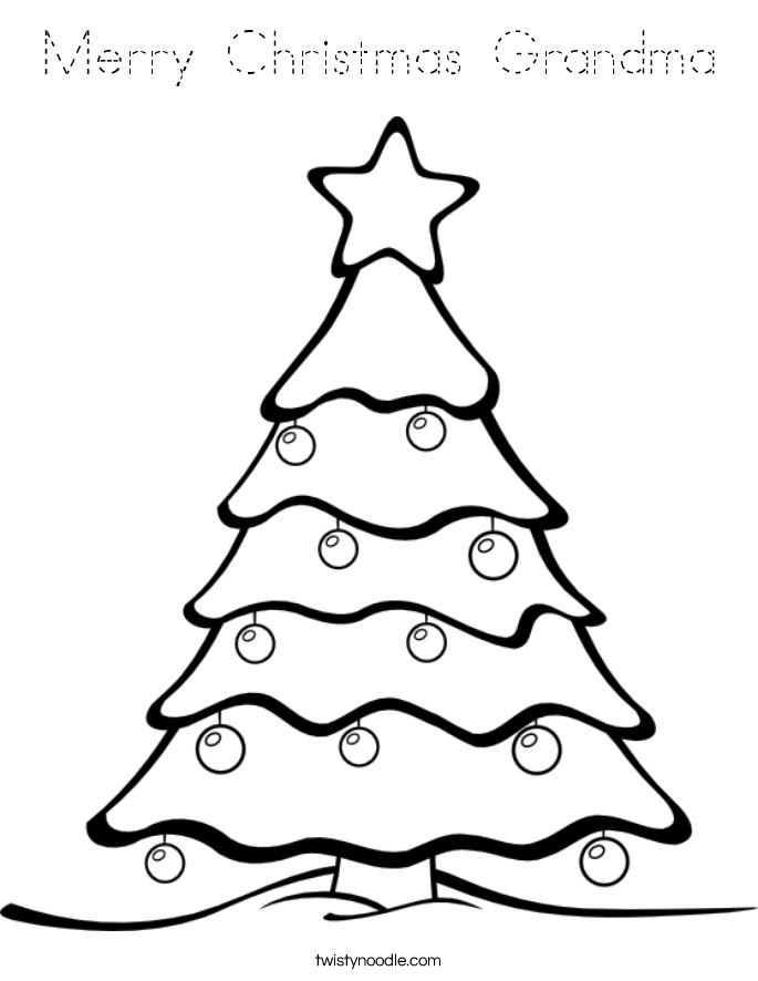 Merry Christmas Grandma Coloring Page