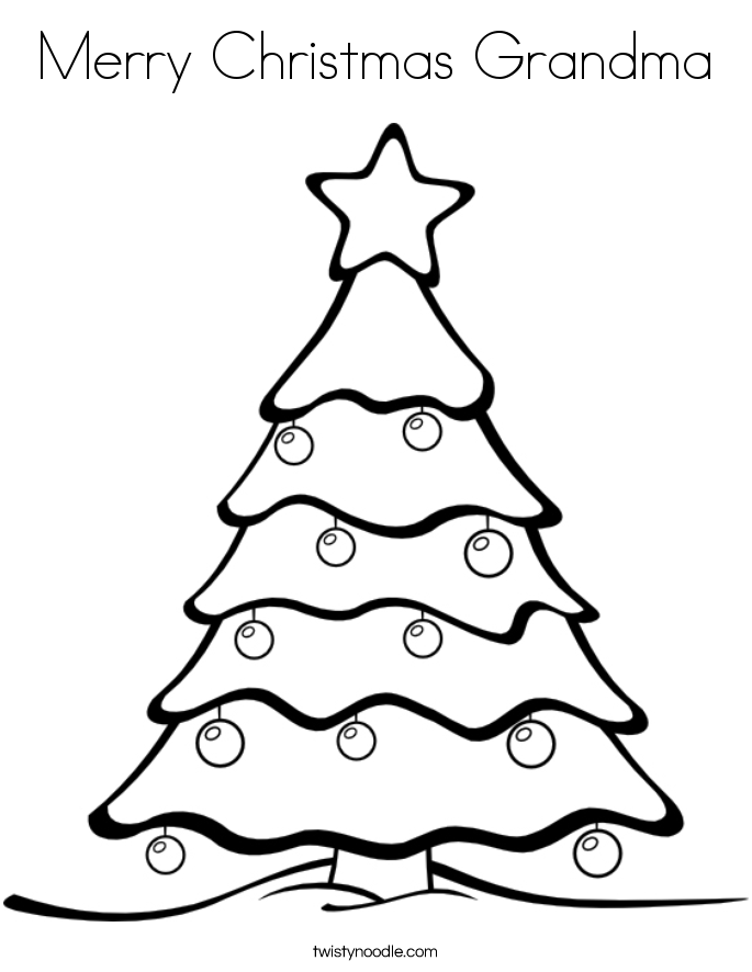 Merry Christmas Grandma Coloring Page