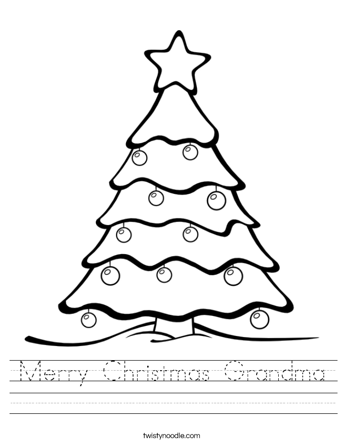 Merry Christmas Grandma Worksheet