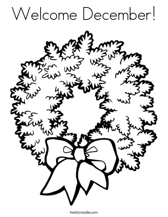 Welcome December Coloring Page - Twisty Noodle